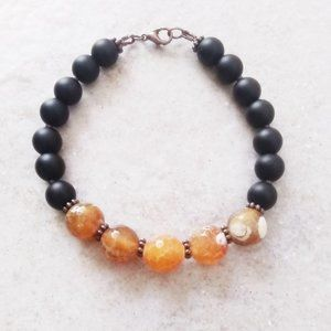 Honey Yellow Faceted DragonVein Agate Bracelet